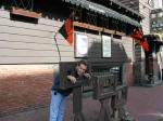 Ron in the stockade outside Salem Witch Dungeon Museum.